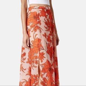 TOPSHOP orange floral midi skirt